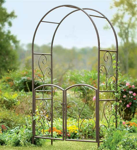 Garden Arbor With Gate Wrought Iron Wrought Iron Garden Arbor With Gate Arbors Trellises