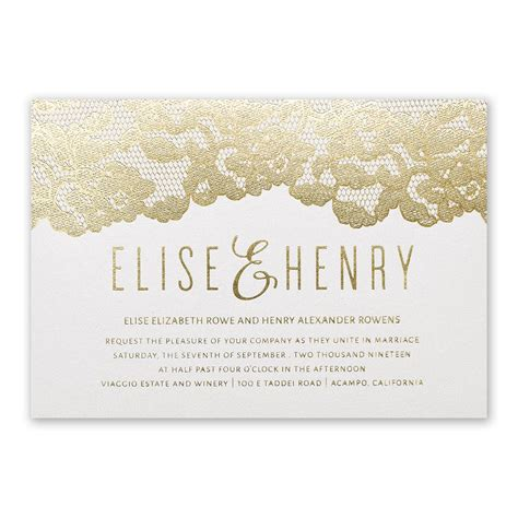 Wedding Invitations Lace by Lace Reflections Foil Invitation Invitations By