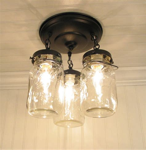 Mason Jar Light Fixture Trio Of Vintage Quarts By Lgoods Jars Light Fixture