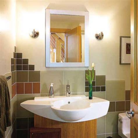 Half bathroom designs with half brick tiles