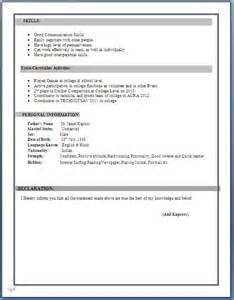 Resume Quick Learner by Ca Inter Resume Format