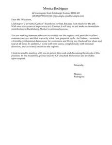 cover letter for cashier cashier cover letter exles for retail livecareer