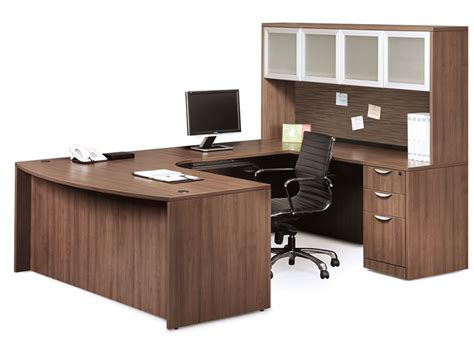 U Shaped Desk W Bow Front And Overhead Hutch W 4 Glass Doors U Shaped Glass Desk