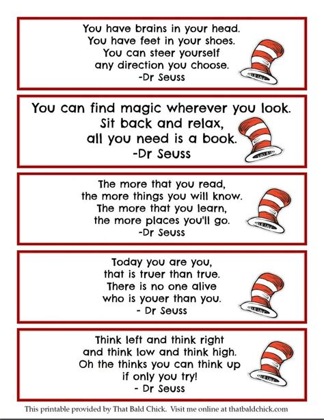 free printable worksheets dr seuss printable dr seuss quote bookmarks thatbaldchick