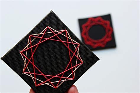 String On Canvas - diy geometric string cards