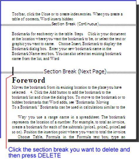 remove section break section breaks create or insert delete control format