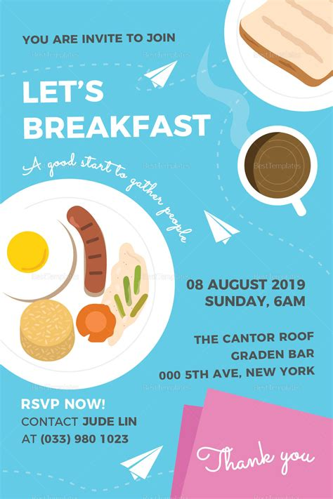 Sle Breakfast Invitation Design Template In Psd Word Publisher Illustrator Indesign Breakfast Invitation Template Free