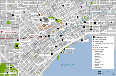 seattle map with hotels seattle tourist attractions map