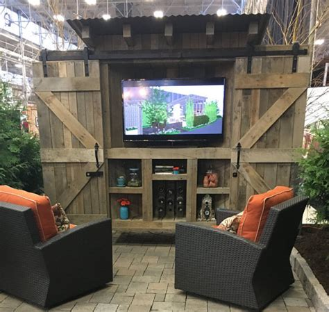 backyard tv reclaimed wood rustic outdoor tv cabinet with by