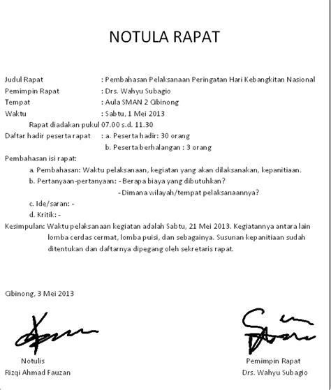 Contoh Notula by Diklat Asy Syifa Notula Rapat