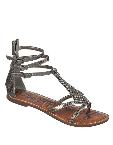 faux leather sandals sam edelman faux leather sandals in metallic lyst