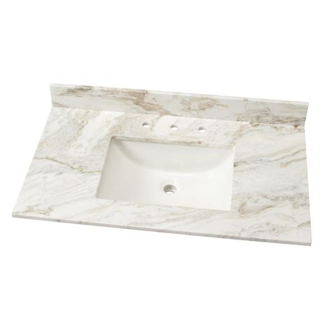 White Marble Vanity Top by Home Decorators Collection 37 In W Marble Single Basin