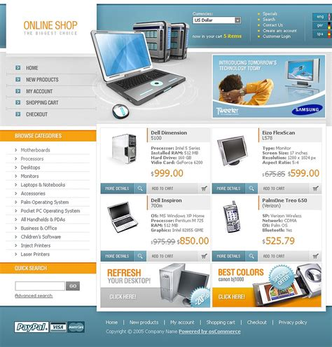 oscommerce templates computer store oscommerce template 9587