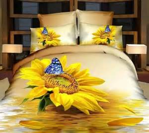 yellow sunflower 3d bedding sets king size 4pcs set duvet
