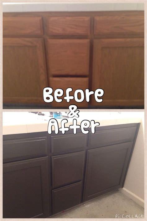 diy painted my bathroom cabinets using behr premium paint espresso bean them diy