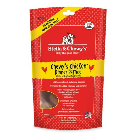 chewys food stella chewy s freeze dried chewy s chicken dinner patties food 15 oz bag
