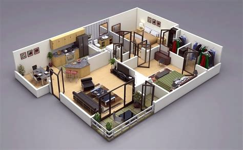 3d plans 25 two bedroom house apartment floor plans