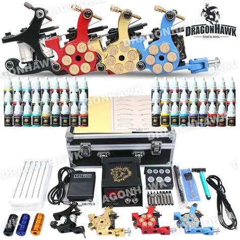 professional tattoo kit  machine gun power supply  color inks professional tattoo kit