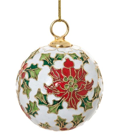 cloisonne poinsettia ball ornament