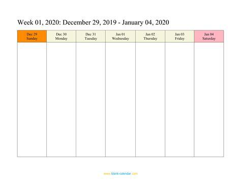カレンダー 2020 Week