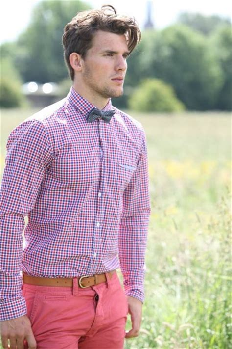s pink gingham dress shirt charcoal plaid bow tie