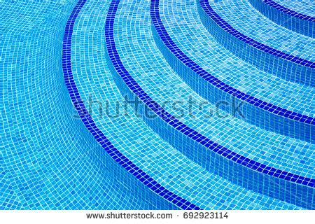mosaic pattern definition curved steps into swimming pool view stock photo 692923114