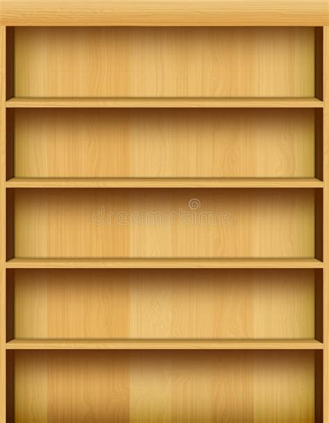 realistic wooden bookshelf background stock illustration