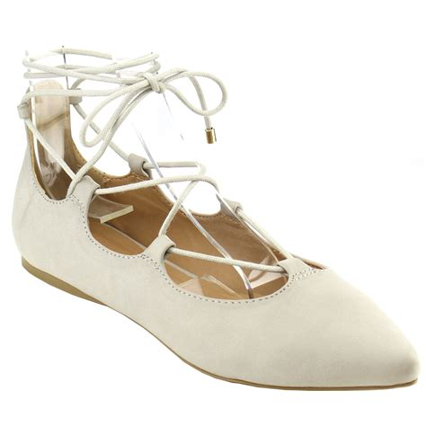 beston ia12 s lace up ankle tie cutout comfort flats