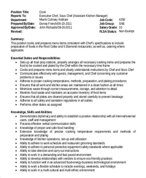 sle executive chef description 9 exles in pdf