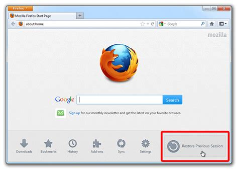 reset android browser homepage restore previous session in firefox authorcode