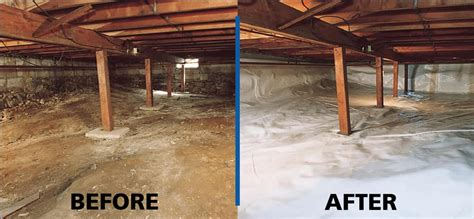 before after of perma seal s crawl space
