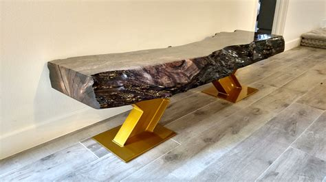 ebonized maple  edge bench  gold  beam legs