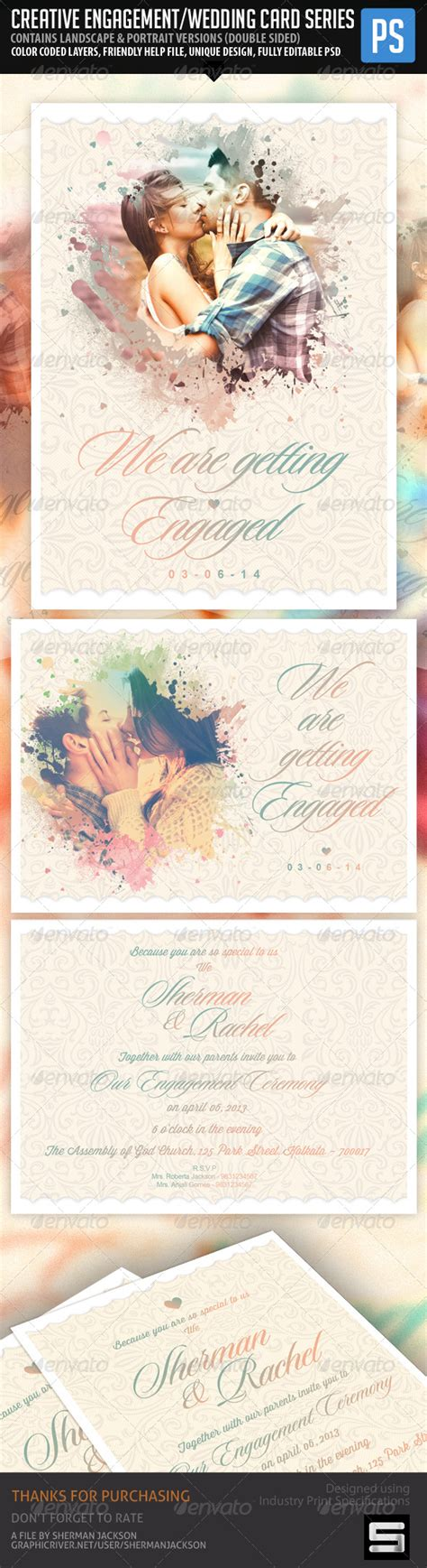 creative wedding card templates creative engagement wedding card graphicriver