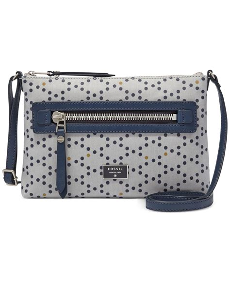 Fossil Womens Dawson Satchel Printed Faux Multi Colour Leather 2in1 H lyst fossil dawson canvas crossbody in blue