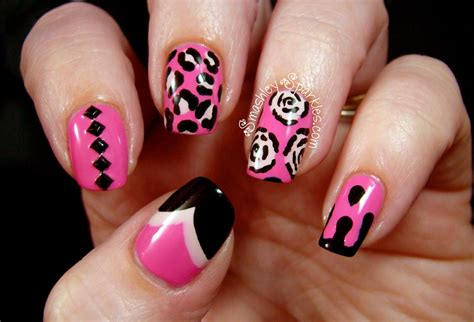nails and designs pink and black nail designs 23 widescreen wallpaper