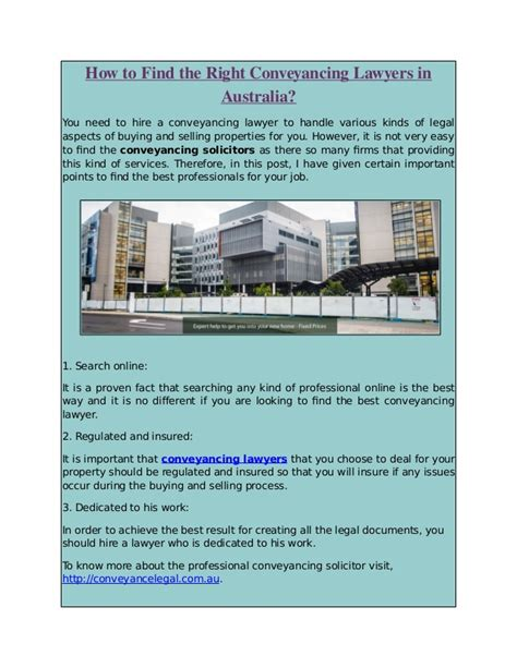 How To Find In Australia How To Find The Right Conveyancing Lawyers In Australia