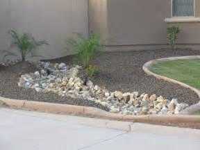 arizona desert landscape design with riverbeds rock plants