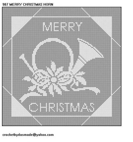 Filet Crochet Patterns For Home Decor 987 merry christmas horn filet crochet doily afghan