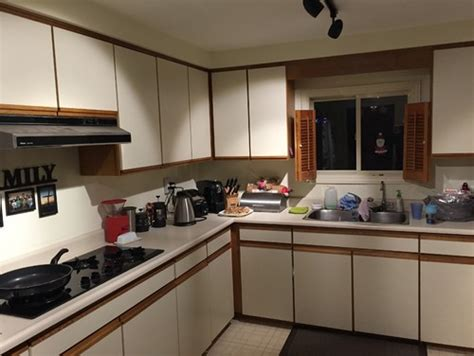 how can i update my plain white formica cabinets plz help need help for my kitchen almond melamine and honey oak