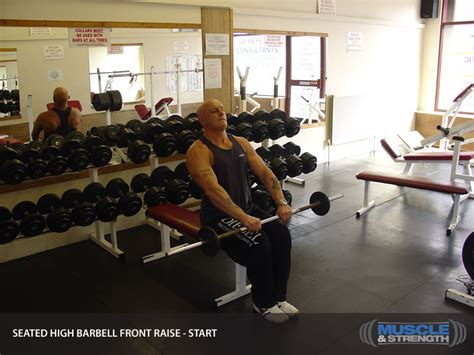 high school bench press average seated high barbell front raise video exercise guide