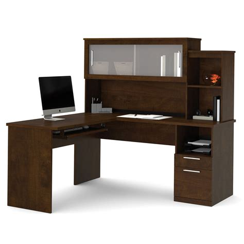 Lshaped Desk With Hutch Bestar Dayton L Shaped Desk With Hutch Chocolate Desks At Hayneedle