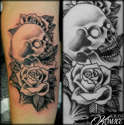 family rose tattoo skull black images for tatouage