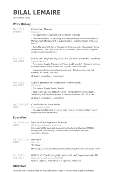 production planner resume produktionsplaner cv beispiel visualcv lebenslauf muster