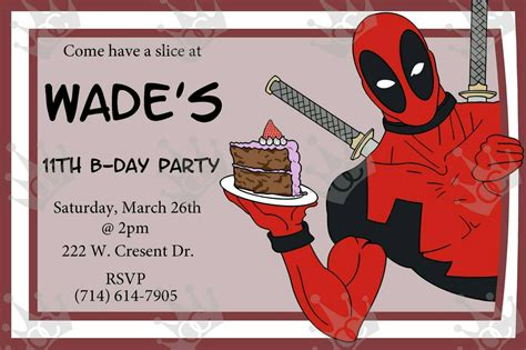 8th birthday invitation templates customized deadpool birthday card invitation birthday