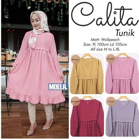 tunik remaja mini dress calita model baju gamis terbaru