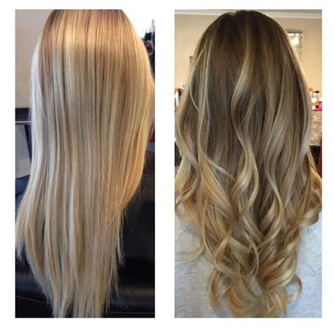 brown hair to blonde balayage before and after before and after by natalie solotes owner of