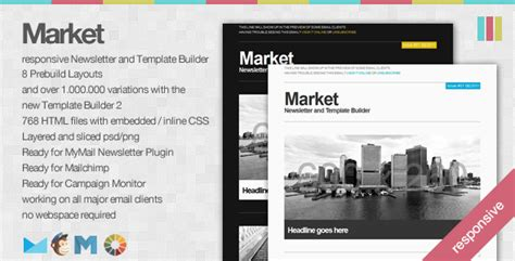 market responsive newsletter with template builder 10 responsive email newsletter templates you can