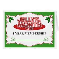 monthly clubs jelly of the month club greeting card zazzle