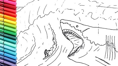 shark pictures to color drawing and coloring the megalodon vs surfer shark