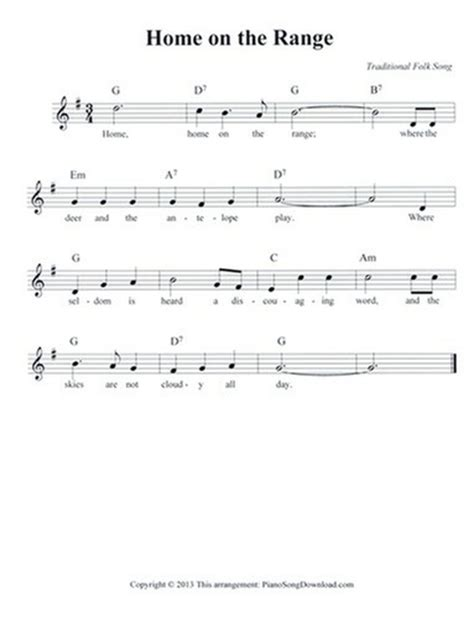 home on the range free lead sheet with melody lyrics and